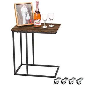 GOOD & GRACIOUS Side Table, Industrial End Table, Vintage Bedside Table with Sturdy Metal Frame for Living Room, Bedroom & Small Spaces, Easy Assembly, with Casters