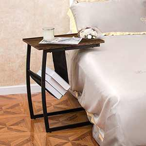 GOOD & GRACIOUS Side Table, Industrial End Table, Vintage Bedside Table with Sturdy Metal Frame for Living Room, Bedroom & Small Spaces, Easy Assembly, C Shape with Storage Holder
