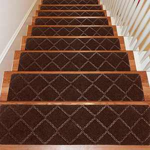Seloom Stair Treads Carpet Non-Slip with Non Skid Rubber Backing Specialized for Indoor Wooden Steps, Removable Washable Step Runners Perfect for Dogs(Dark Brown1, 15-Pack, 8 x 30 in)