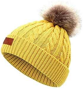 Narja Kids Winter Warm Knitted Beanie, Cold Weather Soft Bobble Pom Pom Knit Hat for Unisex Child Toddler Boys Girls (Yellow)