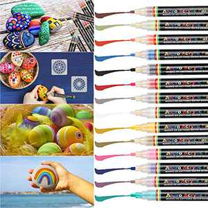 Anpro 14 Color Acrylic Pen, Stone Painting Set, Used in Stone, Ceramic, Glass, Cloth, Wood, DIY Mug, DIY Photo Album, etc.