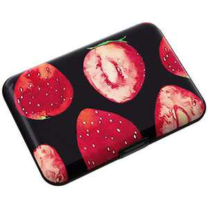 MaxGear RFID Credit Card Holder Metal Card Case Aluminum Wallet ID Card Protector for Men Women Strawberry