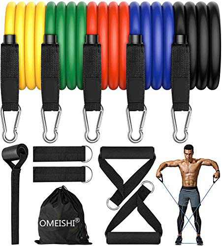 omeishi Resistance Bands Set 11 Pieces with Exercise Bands, Door Anchor, Ankle Straps, Carry Bag for Resistance Training, Physical Therapy, Home Workout Bands, Yoga, Pilates