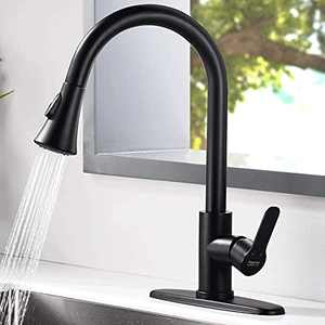 AMAZING FORCE Matte Black Kitchen Faucet Pull Down Kitchen Faucets Stainless Steel Kitchen Faucet with Pull Down Sprayer Modern Single Handle Kitchen Faucet Mixer Tap