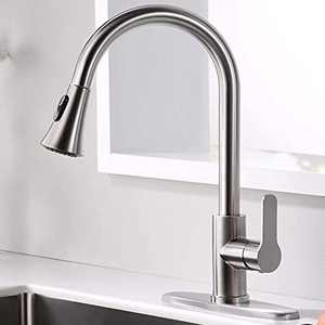 AMAZING FORCE Kitchen Faucet with Pull Down Sprayer, Kitchen Sink Faucet Single Handle, Kitchen Faucet Brushed Nickel Utility Sink Faucet for Laundry Sink Stainless Steel