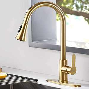 AMAZING FORCE Gold Kitchen Faucet Modern Pull Out Kitchen Faucets Stainless Steel Single Handle Kitchen Sink Faucet with Pull Down Sprayer 3 Hole Kitchen Faucet Mixer Tap.