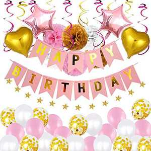 Narja Birthday Party Pink Gold Balloons and Banners for Girls Women, Happy Birthday Party Decorations and Supplies Sets with Latex and Premium Aluminum Foil Balloons, Pompoms Flowers Hanging Swirls