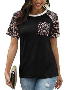 Yidarton Womens Tunic Tops Casual Neck Short Sleeve Leopard Blouses Shirts with Pocket(C-bk,m)