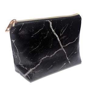 OXYTRA Coin Purse Change Wallet Pouch Mini Makeup Bag Marble Makeup Pouch Small Waterproof Cosmetic Bag PU Vegan Leather Shell Shape Organizer (Black Marble Print)