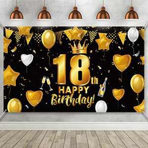 18th Birthday Black Gold Party Decoration, Large Fabric Black Gold Sign Poster for 18th Birthday Anniversary Party Supplies, 18th Birthday Party Photo Booth Backdrop Background Banner 72.8 x 43.3 Inch