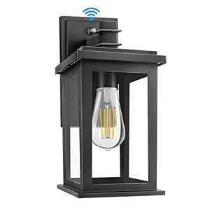 Outdoor Wall Lantern, Exterior Waterproof Wall Sconce Light Fixture, Matte Black Anti-Rust Wall Mount Light with Clear Glass Shade, E26 Socket Wall Lamp for Porch Entryway Doorway (Bulb Not Included)