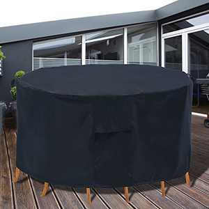 PATIOPTION Patio Furniture Covers, 600D 62'' Diameter Outdoor Furniture Covers Waterproof Round Table Cover Heavy Duty Cover Tough Canvas UV Resistant Dustproof Anti-Fading Cover + Storage Bag…