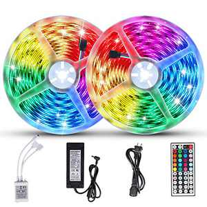 LUNSY RGB LED Strip Lights 65.6ft/20m, 600LED, Dimmable Light Strips for Bedroom, Color Changing Rope Light Indoor and Outdoor, with 44 Key IR Remote