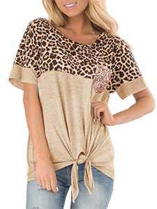 csoft Women's Casual Short Sleeve Leopard Print T Shirt Front Tie Twist Knotted Sequin Chest Pocket Blouse Top A-Khaki