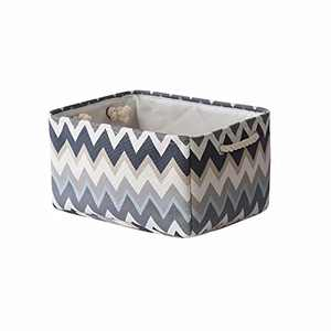 TcaFmac Storage Basket Collapsible Storage Bin Clothes Basket with Handles Fabric Storage Basket for Organizing Shelf Nursery Home Closet & Office (Wavy Stripes, 16x12x8inch)