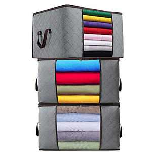 Clothes Storage Bag Organizer,3 Pack, 90L Large Capacity Clothing Storage Bags with Sturdy Handle Durable Fabric for Comforters, Blankets, Bedding, Foldable with Dual Zipper, Clear Window, Grey.