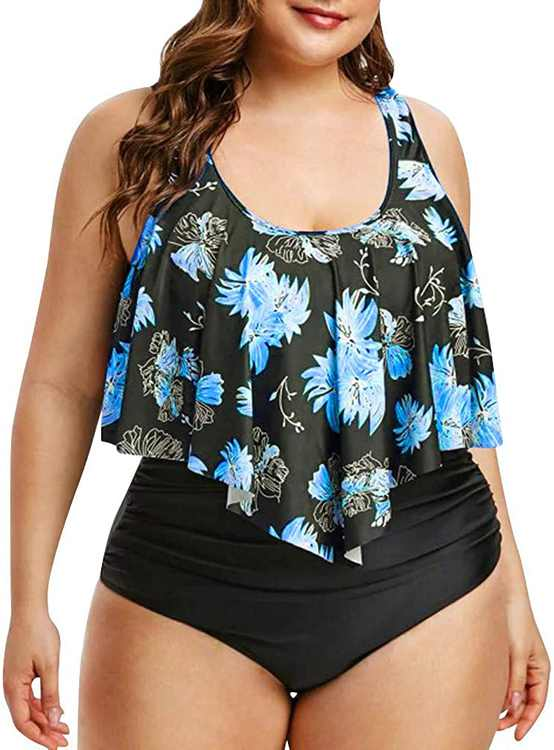KPILP Womens Plus Size Swimwear Floral Print Ruffle Flounce High Waisted Swimsuit Ladies Oversized Beachwear Boho Bikini Set Tummy Control Holiday Bathing Suit