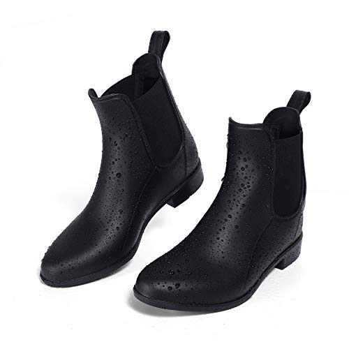 ALLENSKY Women's Ankle Rain Boots Waterproof Non-Slip Short Rain Booties Chelsea Boots(Matte Black)