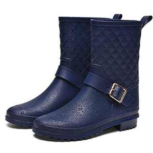 ALLENSKY Women's Mid Calf Rain Boots Waterproof Lightweight Garden Rain Shoes with Ankle Strap Buckle(Matte Navy)