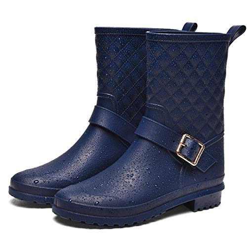 ALLENSKY Women's Mid Calf Rain Boots Waterproof Lightweight Garden Rain Shoes with Ankle Strap Buckle(Matte Navy)