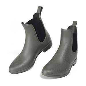 ALLENSKY Women's Ankle Rain Boots Waterproof Non-Slip Short Rain Booties Chelsea Boots(Matte green)