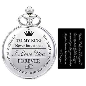 SIBOSUN Pocket Watch for Men Who Have Everything Birthday Gifts for Men Personalized Gifts for Husband Boyfriend (King) Customized Silver