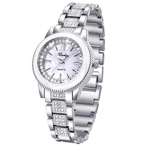 Lady Women Wrist Watch Gold Stainless Steel Crystal SIBOSUN Quartz Dress Bling Bracelet (Silver)