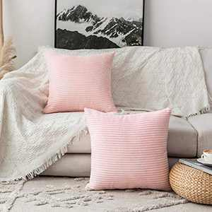 Home Brilliant Decorative Pillow Covers Couch Throw Pillows Sets of 2 Striped Velvet, 22 x 22 inch, 55cm, Pastel Pink