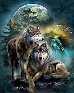 5D DIY Diamond Painting Kits for Adults and Beginner Round Full Drill Embroidery Paintings Rhinestone Pasted Diamond Pictures Arts Craft Canvas for Home Wall Decor Gift 11.8×15.7Inches(Wolf)