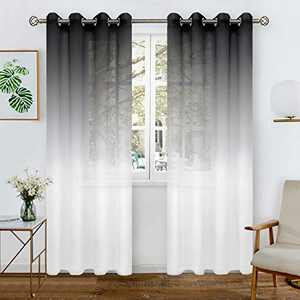 BGment Faux Linen Ombre Sheer Curtains for Living Room, Grommet Semi Voile Light Filtering and Privacy Curtains for Bedroom, Set of 2 Panels (Each 52 x 95 Inch, Black)