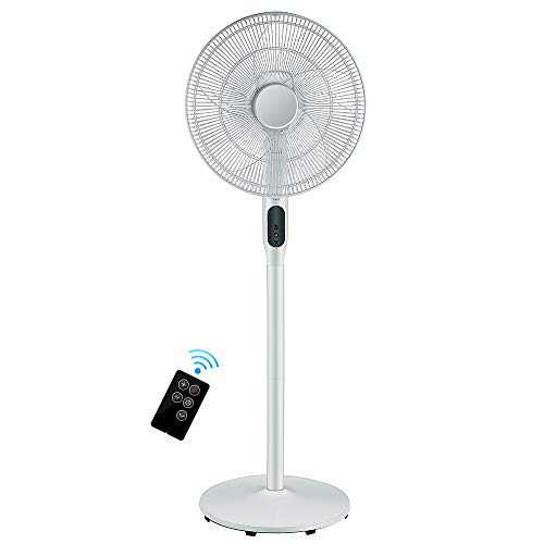 Pedestal Fan - Oscillating Standing Fan with Remote Built-in Powerful 12 Speed Settings and Timer - Adjustable Height and Tilt - Quiet DC Motor Stand Floor Fan for Bedroom and Home Office Use - White…