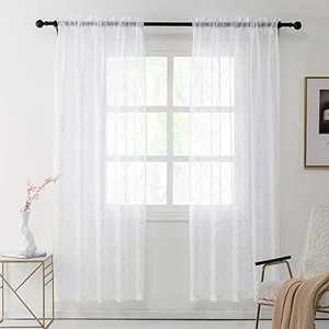 REEPOW Sheer Window Curtains 84 inches Long with 3D Moroccan Foil Pattern, 2 Panels White Rod Pocket Sheer Drapes for Bedroom,Living Room, Kitchen - 52 inches Wide