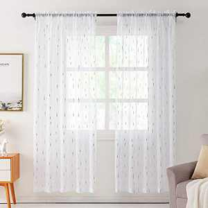 REEPOW Sheer Voile Curtains Drapes with 3D Rain Drops Silver Foil Pattern, Rod Pocket White Overlay Window Decor for Living Room - W 52 x L 96 inch, Set of 2