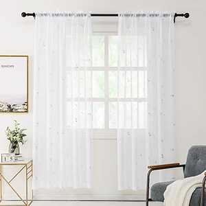 REEPOW Sheer Voile Curtains Drapes with Silver 3D Foil Anchor Pattern, Rod Pocket White Overlay Window Decor for Living Room - W 52 x L 96 inch, Set of 2