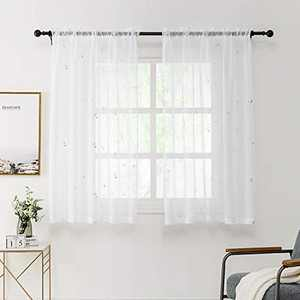 REEPOW Anchor Sheer Voile Window Curtains Panels with Washable Silver Foil Pattern, 2 Panels Rod Pocket White Translucent Drapes for Bedroom - 52 x 45 inches