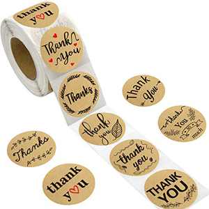 500pcs Kraft Thank You Stickers Perforated Roll Sticker Labels for Home Kitchen Small Business Wedding Birthday Baby Shower Party Supply