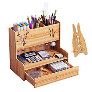 Marbrasse Wooden Desk Organizer, Multi-Functional DIY Pen Holder Box, Desktop Stationary, Easy Assembly, Home Office Supply Storage Rack with Drawer (B14-Cherry Color)