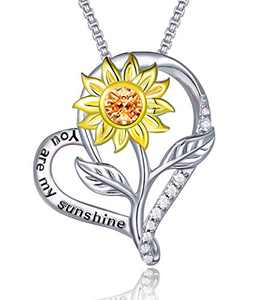 Klurent Sunflower Love Heart Pendant Necklace Jewelry My Sunshine Adjustable 18-20 Inches Blessings for Women Daughter Wife 925 Sterling Silver Jewelry Birthday (Yellow2, 925 Sterling Silver)