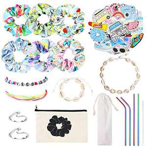 PANTIDE 69Pcs VSCO Starter Stuff Pack for Girls-VSCO Hair Scrunchies, Flask Stickers, Shell Choker Necklace Bracelet, Adjustable Wave Beads Bracelets, Stainless Steel Straws, Wave Rings, Cosmetic Bag