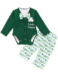 Shalofer 3PCS Baby Boy St.Patrick's Day Bodysuit Newborn Lucky Charm Outfit Set (Green,0-3 Months)
