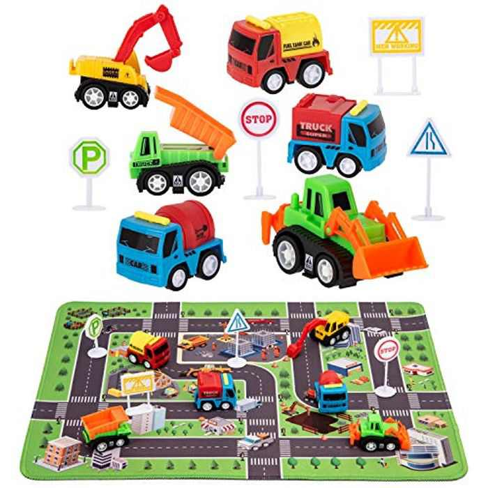Construction Vehicle Toys - Engineering Vehicles Set with Play Mat, 6pcs Construction Trucks & 4 Road Signs, Mini Pull Back Car Toy, Boys Birthday Gift Toys for age 3 4 5 Boys Toddle Kid