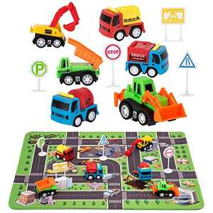 """Construction Toys with Play Mat, Engineering Vehicles Set Include 6 Construction Trucks, 4 Road Signs, 14"""" x 18"""" Playmat, Pull Back Car Toys, Toys for 2 3 4 5 Year Old Boys Toddle Kid"""