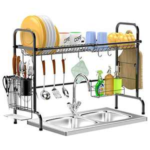 Dish Drying Rack Over The Sink - GSlife Stainless Steel Rustproof Over Kitchen Shelf Organizer Rack with Utensil Holder & Cutting Board Holder, Black