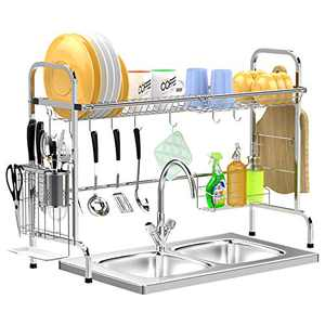 Over The Sink Dish Drying Rack - GSlife Stainless Steel Non-Rust Over Sink Shelf with Utensil Holder & Cutting Board Holder for Kitchen Counter, Silver