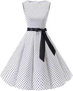 Bbonlinedress Womens Vintage 1950s Boatneck Sleeveless Retro Rockabilly Swing Cocktail Dress White Black Dot 3XL