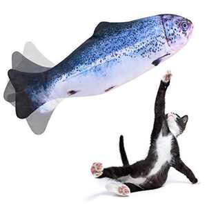Beewarm Flippity Fish Cat Toy Flopping Fish Cat Toy Moving Fish Toy for Cats - Christmas Interactive Pets Chew Bite Supplies Catnip - Perfect for Biting, Chewing and Kicking (Salmon)