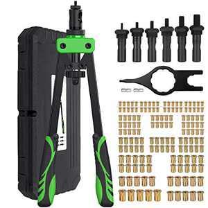 "Proster 14"" Heavy Duty Hand Rivet Nut/Thread Setter Kit with 6pcs Metric Mandrels, 150Pcs Rivet Nut"