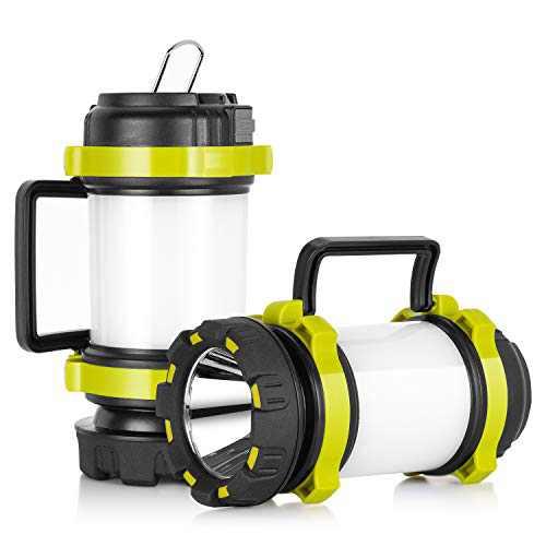 KAMSPARK LED Lantern Flashlights with 4000mAh Power Bank Red Strobe Light for Emergency 800 Lumens USB Rechargeable 6 Lighting Modes Flashlight Lantern for Camping Fishing Searching Hiking (2 Pack)