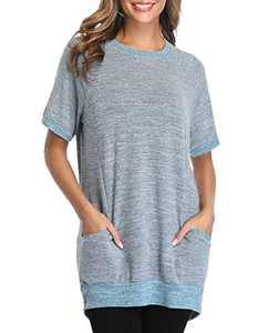 Women's Long Sleeve Tunic Tops Casual Color Block Pocket T Shirts Round Neck Blouses Sweatshirts Tops (A Short Sleeve Gray Blue, XXL)