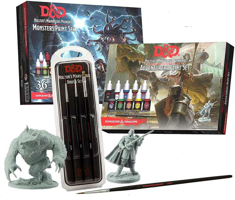 The Army Painter   Dungeons and Dragons Nolzur's Marvelous Pigments Bundle   46 Acrylic Paints, 4 Brushes and 2 Miniatures   for Roleplaying, Boardgames, Wargames Miniature Model Painting